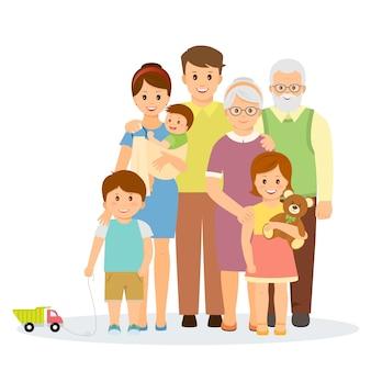 Семейный портрет в плоском стиле. улыбающаяся семья с родителями, детьми, бабушкой и дедушкой