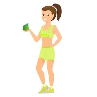 Спорт женщины с зеленым яблоком. изолированный