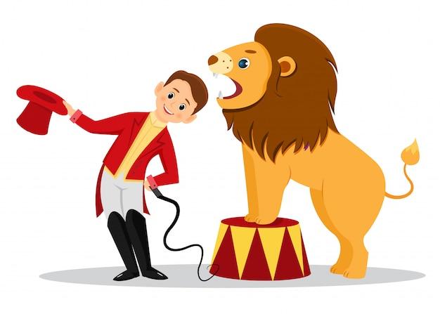 漫画のライオンの調教師は、ライオンのあごに頭を置きます