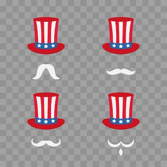 アンクルサムの帽子。自由と自由の象徴。漫画かわいいヘッドバンド、ひげそりで。透明なチェッカーで隔離されたベクトル図。