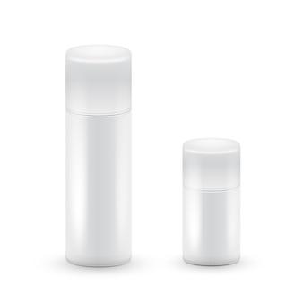 白い大小のエアロゾルスプレーのボトル、化粧品、香水、ヘアスプレー用のメタルボトル。デオドラントパッキング。