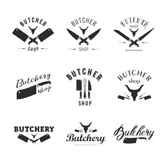 Большой набор шаблонов логотипов бойцов. мясные этикетки с образцом текста. элементы дизайна мясника и силуэты сельскохозяйственных животных для бакалейных товаров, мясных магазинов, упаковки и рекламы.