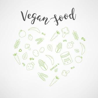 ビーガンの食べ物アイコンのセット。野菜や果物。細い線のアイコン。手書きのタイポグラフィ