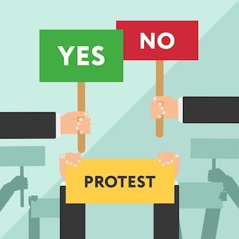 手を持って抗議標識フラットイラスト。抗議またはデモンストレーション。