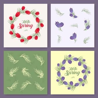 ベクトル春の背景。春の時間。春の花と木の葉。ラウンドフレーム。手書きの筆文字。ベクトルカードテンプレート。白い背景にテキストを中央に配置することができます。