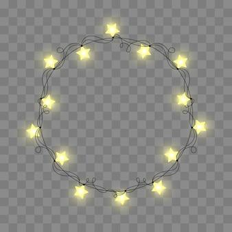 抽象的なレトロな光のフレーム。現実的な色の花輪、お祝いの装飾。透明なチェッカーで隔離されたグローライト。ベクトル図。
