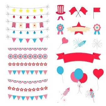 パーティーと祝賀デザイン要素コレクション。お祝いのイベントとショーのアイコンが設定されています。誕生日オブジェクト。カーニバルのマスク、はしご、花火、旗、ストリーマー。