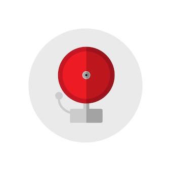 赤い鳴鐘ベル。シングルシルエット火災設備アイコン。フラットスタイル。