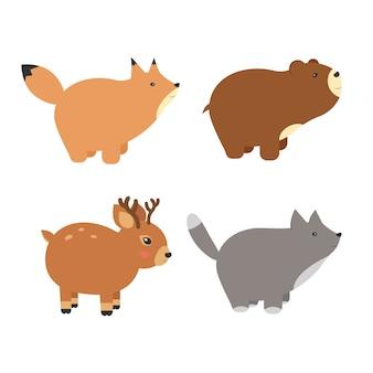 森の動物のベクトルアイコンとイラストのセット