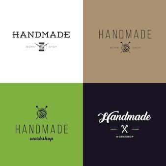 ヴィンテージレトロの手作りバッジ、ラベルとロゴの要素、地元の縫製店、ニットクラブ、手作りのアーティストやニットの会社のためのレトロなシンボルのセット。テンプレートロゴ。