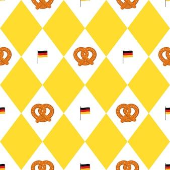 ミュンヘンビールフェスティバルの旗とプレッツェルシームレスパターン