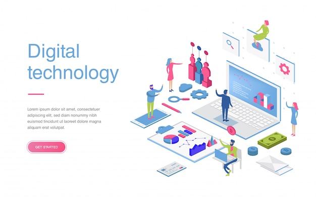 バナーとウェブサイトのデジタルマーケティングのモダンなフラットデザイン等尺性概念。等尺性ランディングページテンプレート。ビジネス分析、コンテンツ戦略および管理