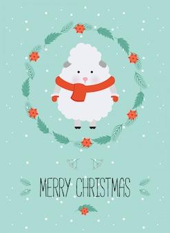 かわいいクリスマスの森のキャラクター。冬服でかわいい羊とメリークリスマスカード