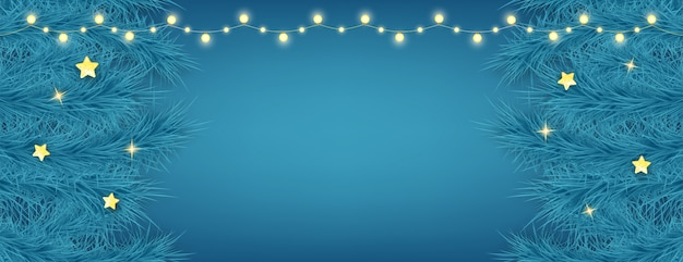 青色の背景に美しいクリスマスカード。ライトの花輪とモミの枝を持つ休日の装飾要素。新年あけましておめでとうございます背景。
