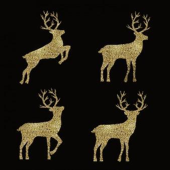 Набор с золотыми силуэтами оленей