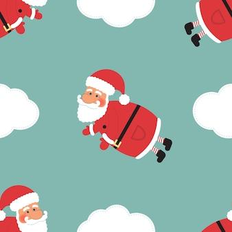 クリスマスシームレスイラスト、抽象的な青い背景に雲と漫画のサンタ節。