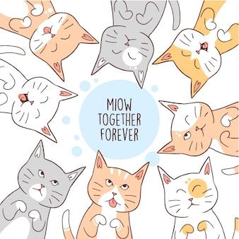 動物のかわいい猫のベストフレンズフォーエバー