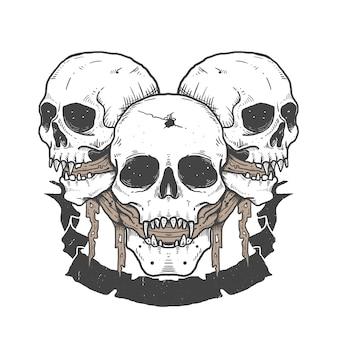 頭蓋骨スケッチタトゥーのデザインイラスト