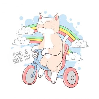 動物のかわいい猫のバイク