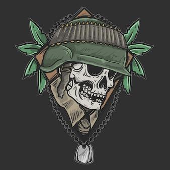 頭蓋骨のベテラン軍ゾンビ兵士