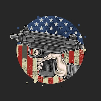 Американская рука использовать оружие иллюстрации вектор