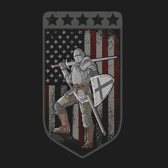 完全な鎧の剣とアメリカの国旗の盾を持つ騎士