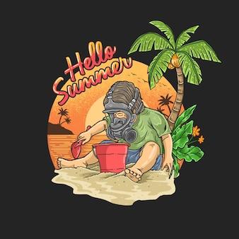 防毒マスクを持つ少年は、熱帯のビーチで休暇中です。