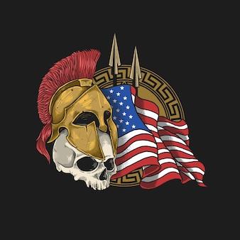 スパルタの鎧とアメリカの国旗の背景を持つ頭蓋骨
