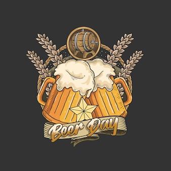 友達とビールを飲んで祝う