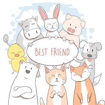 動物のかわいい猫、子犬、ポーランド人、牛、ウサギ、フォックス、ブタ、アヒル