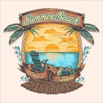 Летом пляж отдыхает кокосовая пальма закат