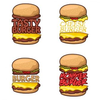 ハンバーガーのロゴ株式ベクトルを設定