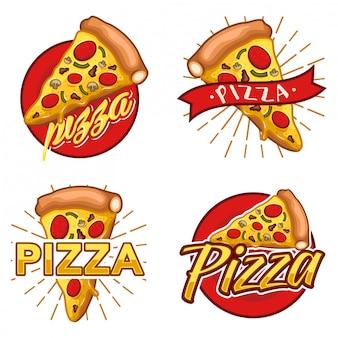 Набор векторного пиццы логотип