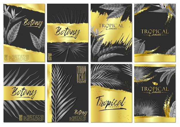 Векторный набор экзотических тропических листьев пригласительный билет