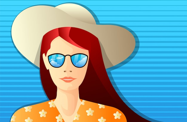 Молодая женщина с очками, который отражает небо с самолета и шляпу пейзаж. летняя концепция иллюстрации
