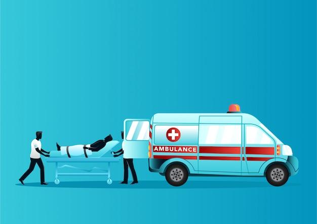 Команда фельдшера переводит раненого на носилках в машину скорой помощи