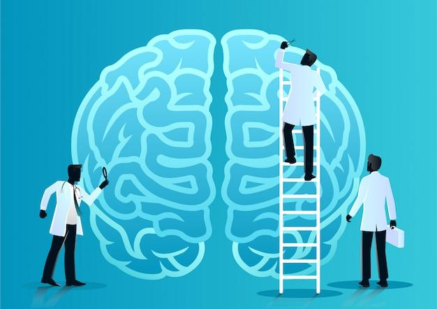 Команда врачей диагностирует мозг человека
