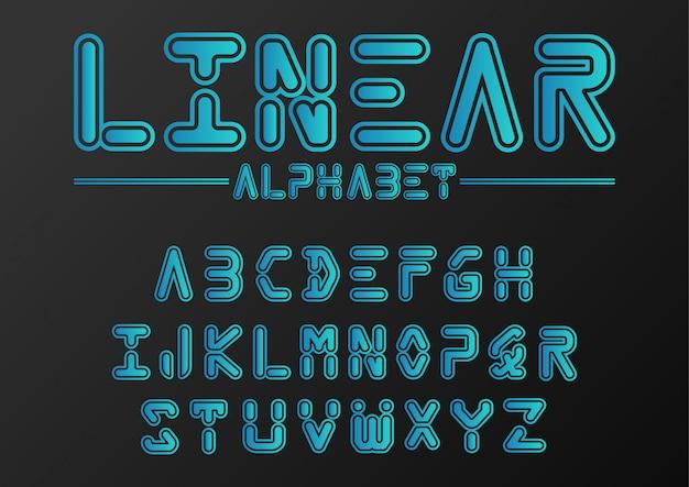 Набор векторного шрифта футуристический, шаблон шрифта.
