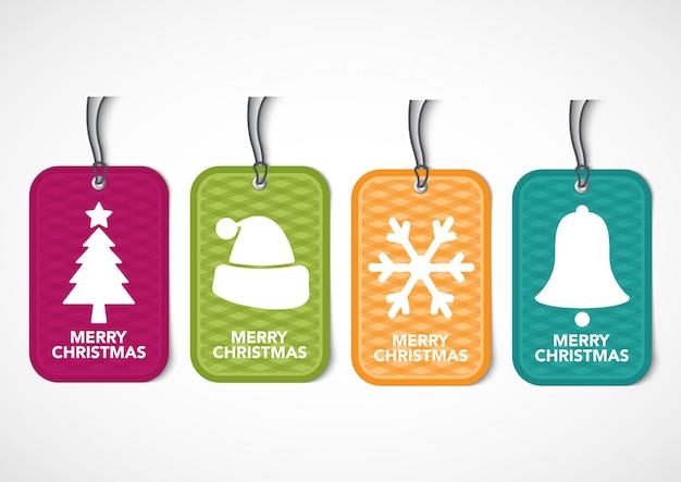 かわいいクリスマスタグのストックセット。特別オファータグ。