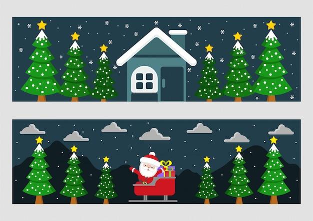 Установить милый рождество с санта-клаусом и домом