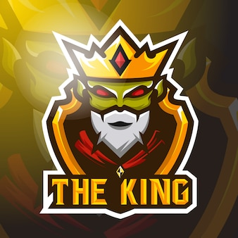 Фондовый вектор зеленый король талисман логотип иллюстрация