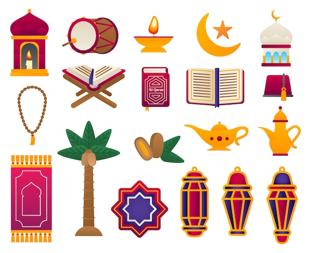 フラットアラビア飾りのセット。ラマダンカリームイラスト