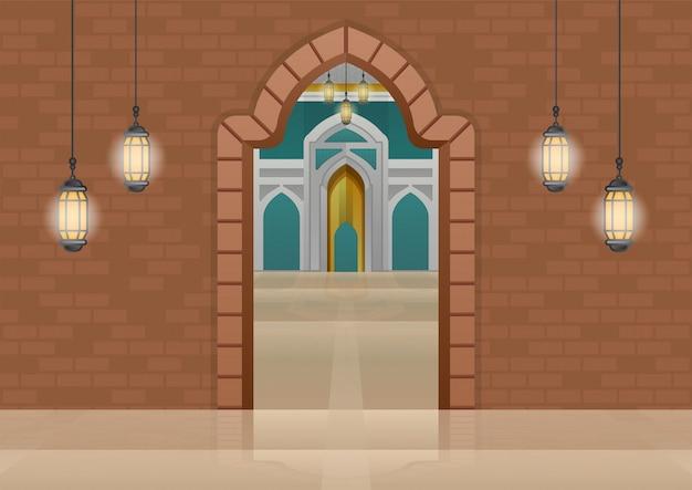 レンガのゲートの背景を持つ素晴らしいモスク内部の建物の在庫。