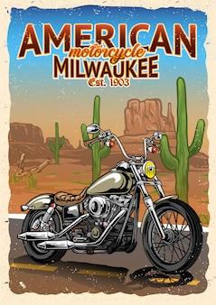 アメリカの砂漠でのオートバイのポスター