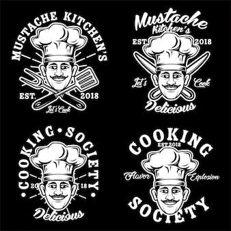 料理シェフのロゴベクトル設定図