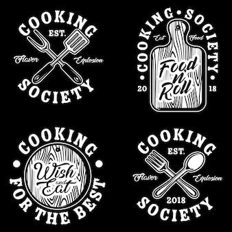 Приготовление пищи логотип векторный набор иллюстрации