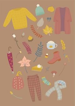 秋の必需品手描きイラスト