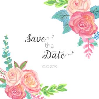 水彩花のフレームは、日付を保存