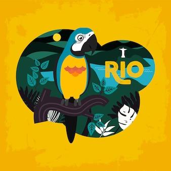 Бразилия фон попугай статуи красочный шаблон вектор