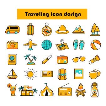 色付きの旅行アイコンデザインパック